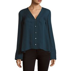 Cinq à Sept Emerson Silk Button-Down Top ($95) ❤ liked on Polyvore featuring tops, teal, button down top, v-neck tops, flared sleeve top, loose tops and silk top
