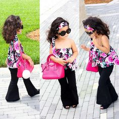 17b6b04fedf Flower Sets for girls in autumn 2017 Fashion floral printed Tops + Long  black pants sets children s clothes