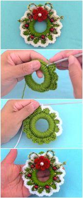 Learn To Crochet Christmas Wreath - bazaar? - Learn To Crochet Christmas Wreath Learn To Crochet Christmas Wreath - ilove-crochet Crochet Christmas Wreath, Crochet Wreath, Christmas Crochet Patterns, Crochet Ornaments, Crochet Crafts, Yarn Crafts, Crochet Flowers, Christmas Wreaths, Christmas Crafts