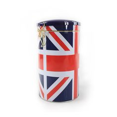 Britain flag printed round coffee tin container with airtight lid