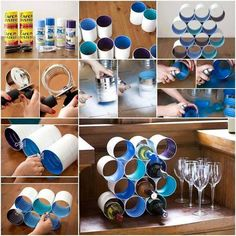 Weinregal selber bauen - 25 kreative Ideen Build your own wine rack - 25 creative ideas Diy Design, Wine Bottle Holders, Wine Bottle Crafts, Diy Bottle, Beer Bottle, Built In Wine Rack, Recycled Tin Cans, Recycled Furniture, Furniture Ideas