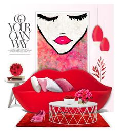 """Color Challenge: Red and Pink"" by kiki-bi ❤ liked on Polyvore featuring interior, interiors, interior design, home, home decor, interior decorating, Oliver Gal Artist Co., Linfa Design, Frontgate and Gufram"