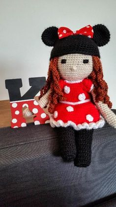 Minnie Mouse inspired crochet doll.