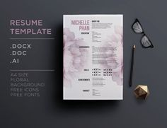 CV template / 1 page resume cover letter by ChicTemplates