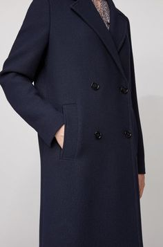 BOSS - Relaxed-fit coat in waffle-structured stretch fabric Fit Back, Smart Casual, Hugo Boss, Waffle, Stretch Fabric, Double Breasted, Suit Jacket, Women Wear, Coats