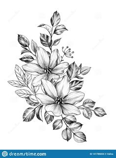 Hand Drawn Fl Bunch With Two Flowers And Leaves Isolated Owl Tattoo Design, Feather Tattoo Design, Feather Tattoos, Nature Tattoos, Flower Tattoo Designs, Flower Tattoos, Bird Tattoos, Ship Tattoos, Arrow Tattoos