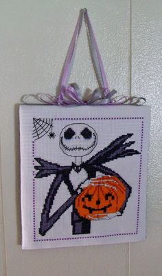Finished Completed Cross Stitch Jack on Halloween Nightmare Before Christmas | eBay