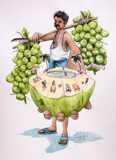 RAW Coconut juice Vendor at south goa Painting Cool Art Drawings, Art Drawings Sketches, Indian Illustration, Medicine Illustration, Illustration Story, Indian Art Paintings, Abstract Paintings, Oil Paintings, Indian Folk Art