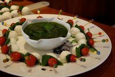 Caprese Skewers with Pesto dipping sauce