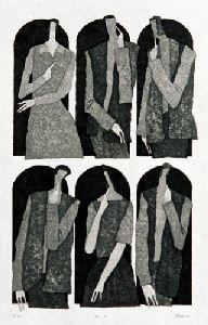 [Art Work / Japanese Prints] AOKI,Tetsuo[Me?]  ed.50, 40.5(cm)x24(cm), 2000, woodblock