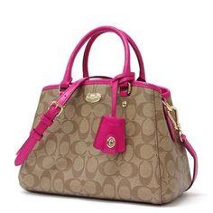 Coach Signature Mini Margo Carryall Shoulder Bag Small Crossbody Khaki Pink Ruby #Coach #Satchel
