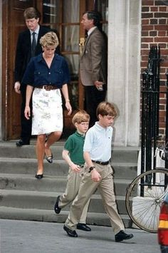 July 13 1992 Diana with Prince William and Prince Harry leaving St Mary's Hospital after visiting her twin nieces Eliza Victoria And Katya Amelia