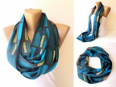 trendy infinity loop scarf , fashion accessories  , NEW women scarves, green , blue - aqua, yellow green , gray , colorful summer accessory. $19.00, via Etsy.