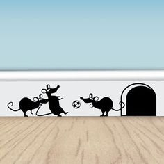 Funny Football Mice - Vinyl Wall Stickers for Walls, Doors  Skirting | eBay