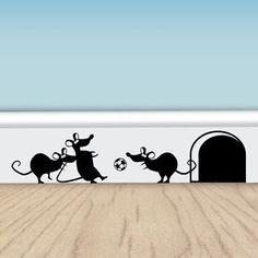 Funny Football Mice - Vinyl Wall Stickers for Walls, Doors & Skirting | eBay