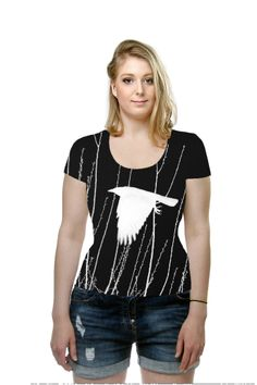 White Crow Silhouette By Lesa Fine, OArtTee specializes in creating amazing, vibrant and colorful Wearable Art. #art #wearableart #wearable #tshirt #TOP