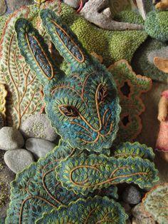 Embroidered rabbit by Salley Mavor, Wee Folk Studio