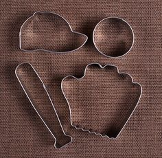 Use our baseball cookie cutters set with baseball cap, baseball, bat and baseball mitt cookie cutters to make fun sugar cookies! To decorate your sweet confections check out our large selection of spr Best Sugar Cookies, Mini Cookies, Cupcake Cookies, Summer Cookies, Cupcakes, Cookie Favors, Flower Cookies, Heart Cookies, Baseball Crafts