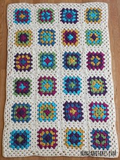 Finished Granny Square Blanket makeandtakes.com