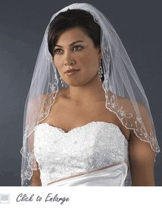 Single Layer Elbow Length Bridal Veil with Scalloped Embroidered Edge