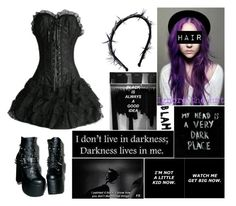 """""""Little Black Dress"""" by shadowgirl13 ❤ liked on Polyvore featuring Gigi Burris Millinery and Demonia"""
