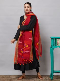 All Dupattas - Dupattas - Clothing Red Kurti, Black Kurti, Silk Anarkali Suits, Kurti Sleeves Design, Stylish Blouse Design, Long Sleeve Gown, Kurti Designs Party Wear, Ethnic Outfits, Petite Outfits