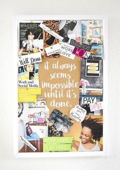 Inspiration vision board motivation diligence future self discipline reminder daily schedule routine success 26 vision board ideas for your important goals in 2020 Bullet Journal Vision Board, Digital Vision Board, Vision Book, Goal Board, Creating A Vision Board, Routine, Be Natural, Success, Images And Words