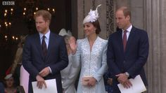 British Royals on Twitter: William, Kate & Harry leave @StPaulsLondon after #Queenat90 service