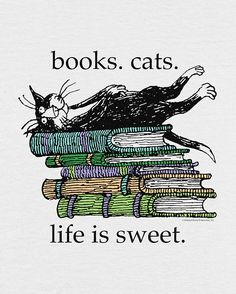 L Edward Gorey Life Is Good T-Shirt Kitty Tuxedo Gray Cartoon Large and like OMG! get some yourself some pawtastic adorable cat apparel! I Love Books, Books To Read, My Books, Ex Libris, Cat Quotes, Book Quotes, I Love Cats, Crazy Cats, Edward Gorey Books