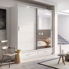 Brand New Modern Bedroom Mirror Sliding Door Wardrobe ARTI 5 in White Matt sold by Arthauss