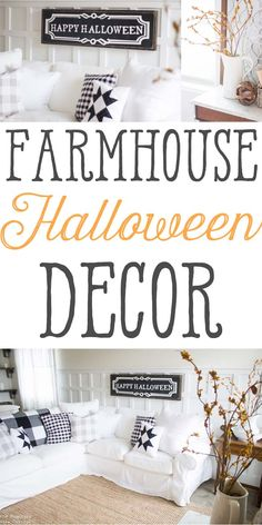 Farmhouse Halloween Décor!! I can hardly believe that September is upon us  meaning the holidays are just around the corner! I am excited to share this  post with you both because it's the first reveal of this room since we made  all the changes!  If you follow me on Instagram you know that this room has  come a long way in the last 2 weeks!....
