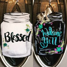 Mason Jar- Welcome Y'all- Double sided Door Hanger, Mason Jar Projects, Mason Jar Crafts, Mason Jar Diy, Diy Projects, Fall Door Hangers, Burlap Door Hangers, Burlap Wall, Wooden Door Signs, Wood Signs
