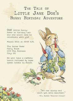 Peter Rabbit - Printable Birthday Party Invitations