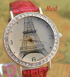 Women's Quartz Watch - Eiffel Tower Design - Red by Quartz. $14.95. Dial Diameter: 3.8 cm. Band Width: 10mm - 19mm, Band Length: 23cm. Leather Wrist Watch. Item Type: Wristwatches is_customized Yes Dial Window Material Type: Glass Case Material: Stainless Steel Brand Name: Eiffel Watch Dial Material Type: Stainless Steel Water Resistance Depth:0 m Movement:Quartz Band With:10mm to 19mm Dial Diameter:3.8 cm Style:Fashion & Casual Gender:Women Condition:New without tag...