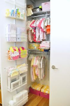 Using shallow wire shelving on this inside of a closet door to help smaller baby items, extra diapers, creams and powders. Such a great idea!