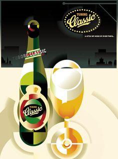 Retro Danish Modern Poster, Tuborg Classic by Mads Berg Art Deco Illustration, Art Deco Posters, Vintage Posters, Retro Posters, Beer Poster, Beer Art, Retro Advertising, Design Museum, Graphic Design