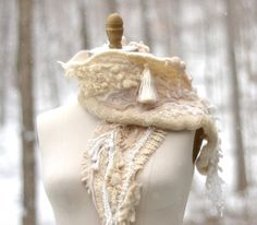 Textured off white  cashmere SCARF WRAP with silk by amberstudios