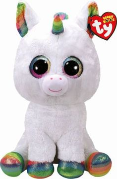 Ty Beanie Boo Large Pixy The White Unicorn. TY Beanie Boo Pixy is an adorable large white unicorn with multi-colored sparkly horn and eyes! Ty Beanie Boos, Beanie Babies, Large Beanie Boos, White Unicorn, Little Unicorn, Real Unicorn, Baby Unicorn, Unicorn Gifts, Ty Peluche