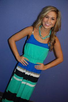 $44 aqua and blue long stripe dress