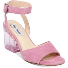 Steve Madden Women's Debbie Lucite-Heel Dress Sandals (5.130 RUB) ❤ liked on Polyvore featuring shoes, sandals, pink suede, steve madden, ankle wrap sandals, block heel sandals, pink sandals and perspex sandals