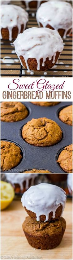 Glazed Gingerbread Muffins– I make these every year. Glazed Gingerbread Muffins– I make these every year. Zucchini Muffins, Muffins Blueberry, Almond Muffins, Just Desserts, Delicious Desserts, Dessert Recipes, Yummy Food, Fall Desserts, Cupcakes