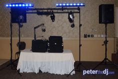 Wedding DJ setup at Daniele's Banquet Specialists in New Hartford, NY. 2016.