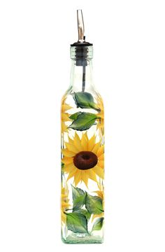 Cheerful yellow sunflower petals with deep brown centers and green leaves hand-painted encircling quality 16.5 oz bottle. Sealed and heat-cured for added durability. Top-rack dishwasher safe; hand-was
