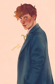 Newt Scamander (and Pickett the bowtruckle!) by UpTheHill