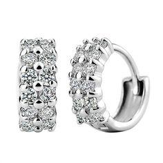 Qualidade venda de Prata Banhado Brincos Para Mulheres Rhinestone Cristal Duplo Row Moda brincos da Jóia Do Casamento