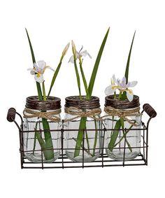 Look at this #zulilyfind! Glass Metal Holder Jar Set #zulilyfinds