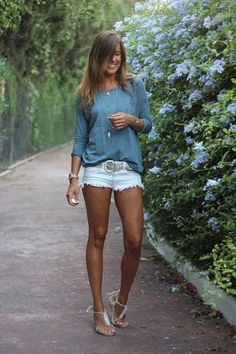 40 Hot Pants Outfits für perfekte Sommerideen 1 - Mode - Best Of Women Outfits Summer Shorts Outfits, Trendy Summer Outfits, Short Outfits, Spring Outfits, Casual Outfits, Summer Dresses, Shorts Outfits Women, Casual Shirt, Outfit Summer