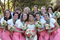 Megan and Dave's Wedding. #bridesmaids, #coral, #peonies, #lakelanierislands, #greenhydrangeas, #teal, #coralroses