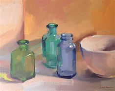 Bottles at the Gallery - Original Fine Art for Sale - © by Sarah Sedwick