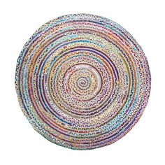 This braided rug is hand-woven of 100-percent natural, eco-friendly jute yarns crafted with multi-colored soft cotton fabric. Thick ribbed construction adds a rich colorful and textural element to any indoor space.